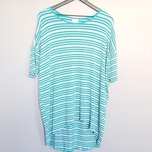 LulaRoe Striped Turquoise/Gray Tee Medium